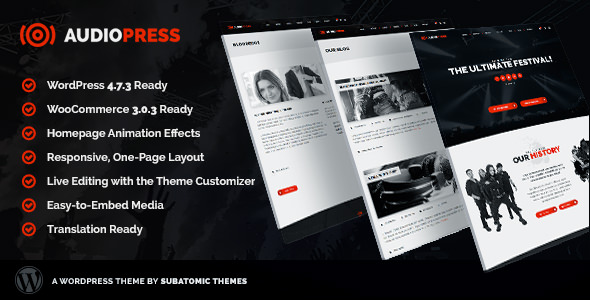 Audiopress - A WordPress Theme for Music Festivals and Bands
