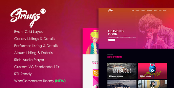 Strings - Music, Band, Artist and Event WordPress Theme