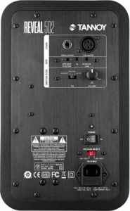 """Reveal 502 rear: Unbalanced 1/4"""" TRS input, balanced XLR input, aux input/position switch/link output, hi cut/boost switch, volume, power, voltage switch, power cord (top to bottom)"""