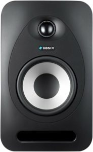 """Reveal 502 front: 1"""" soft dome tweeter, 5"""" driver, bass port (top to bottom)"""